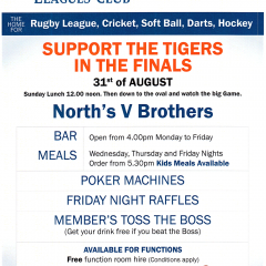 Enjoy a Sunday Lunch at Norths before watching A-Grade take on Brothers this Sunday