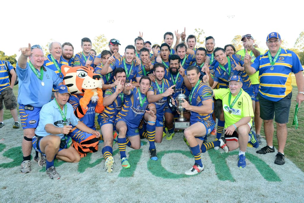 The Norths Tigers side celebrating their 2014 Ipswich Rugby League A-Grade Grand Final win.